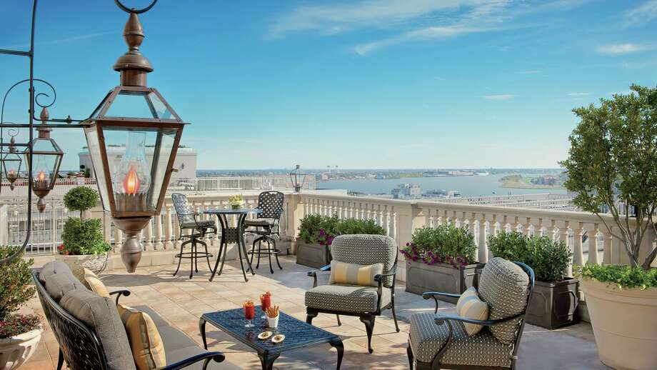 Terrace of the Ritz-Carlton Suite at the Ritz-Carlton New Orleans. It's probably the largest private hotel terrace in the city. The suite starts at $2,500 per night. Photo: Ritz-Carlton / Ritz-Carlton