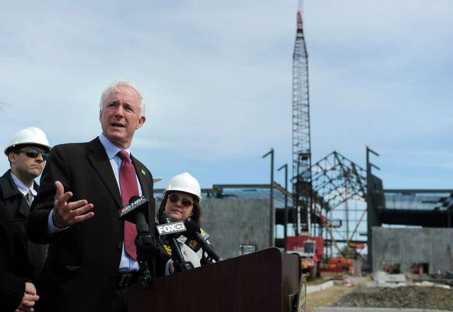 Bridgeport Mayor Bill Finch celebrates the start of spring construction season Wednesday, April 1, 2015, at the city's Steel Point development, the future site of Bass Pro Shops. Photo: Autumn Driscoll / Connecticut Post
