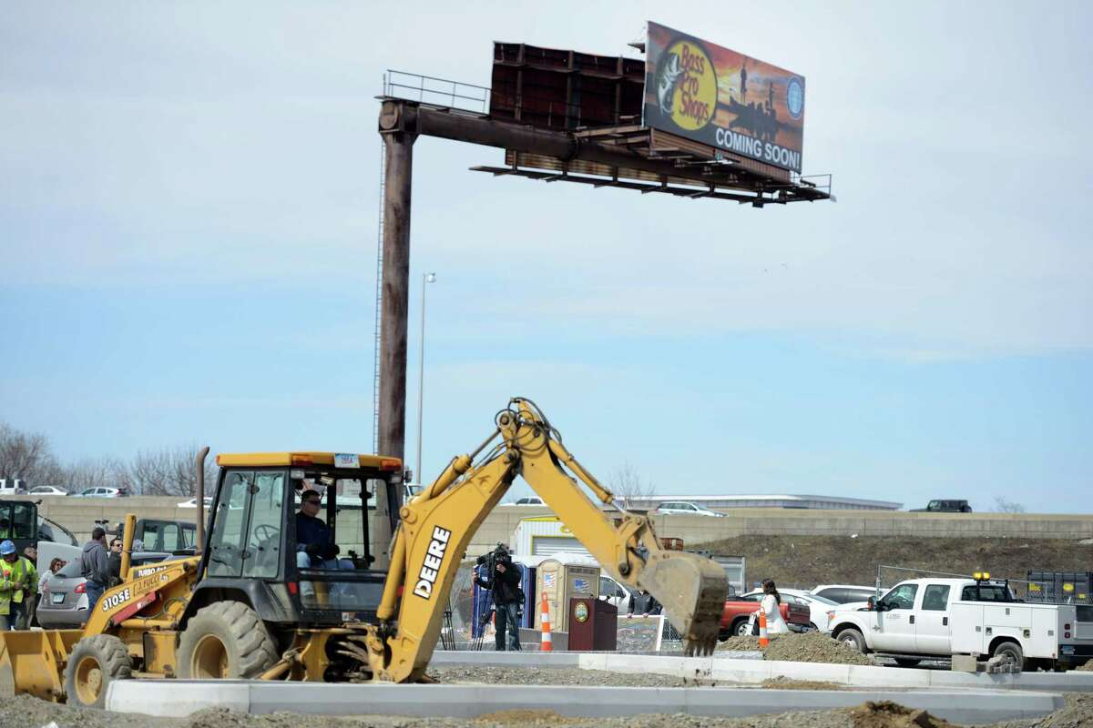 Construction continues Wednesday, April 1, 2015, at Bridgeport's Steel Point development, the future site of Bass Pro Shops which is set to open this fall.
