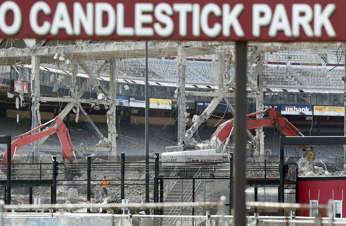 Though the sign welcoming fans to Candlestick Park remains, visitors are not allowed on the property as the stadium is razed to make room for housing and retail space.