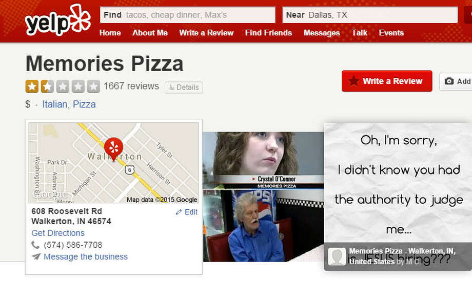 "Internet attacks same-sex wedding hating pizza parlorYelp reviewers are lashing out at Memories Pizza, the Indiana restaurant that said it would refuse to cater a same-sex wedding under the state's new ""religious freedom"" law. The reviews range from poignant to pornographic and come from both sides of the debate.See some of the SFW (""safe for work"" viewing) reviews ... Photo: Yelp"