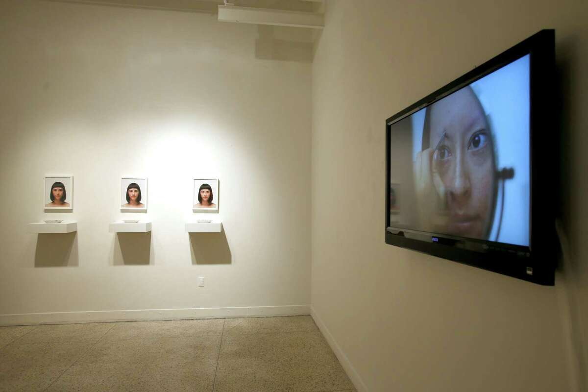 The Guadalupe Cultural Art Center's CAM Perennial exhibition has works by eight artists, including Jennifer Ling Datchuk's eyebrow-plucking video (above).