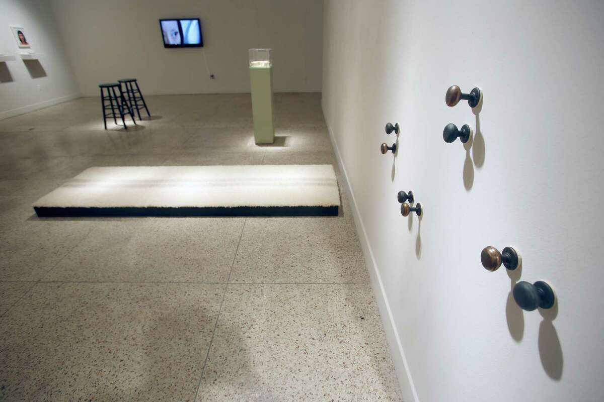 In 2015, the Guadalupe Cultural Art Center's exhibition space hosted theCAM Perennial exhibition. The show featured work by eight artists including this piece is by Karen Mahaffy.