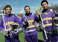 UAlbany's Connor Fields, left, Seth Oakes, center, and Lyle Thompson lead the highest-scoring team in college lacrosse on Wednesday, April 1, 2015, at UAlbany in Albany, N.Y. (Cindy Schultz / Times Union)