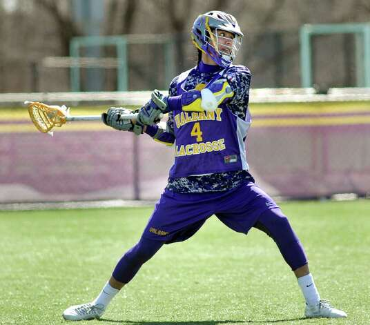 UAlbany's Lyle Thompson takes a shot during lacrosse practice on Wednesday, April 1, 2015, at UAlbany in Albany, N.Y. (Cindy Schultz / Times Union) Photo: Cindy Schultz / 00031253A