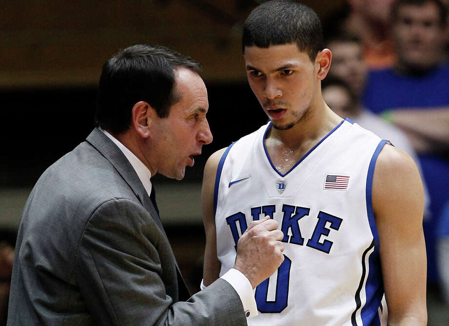 Duke coach Mike Krzyzewski speaks with Austin Rivers during the first half against Florida State in Durham, N.C., in 2012. There was a time when Krzyzewski led Final Four teams built around players who stayed for years to grow into tournament-tested veterans. No longer, not in today's one-and-done world in which top players rarely stick around long. Photo: Gerry Broome /Associated Press / AP