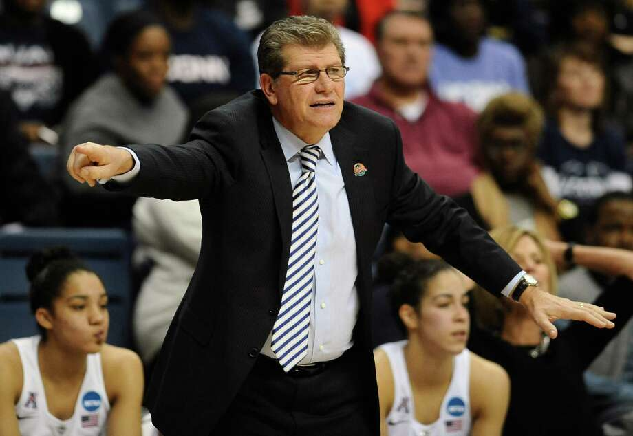 Connecticut Geno Auriemma gestures to his team during the first half of a women's college basketball game against St. Francis in the first round of the NCAA tournament on March 21, 2015, in Storrs, Conn. Photo: Jessica Hill /Associated Press / FR125654 AP