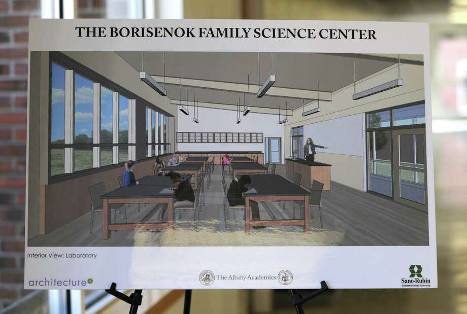 Renderings are seen at a ground breaking for The Borisenok Family Science Center at Albany Academy for Girls on Wednesday, April 1, 2015 in Albany, N.Y.  (Lori Van Buren / Times Union) Photo: Lori Van Buren / 00031256A
