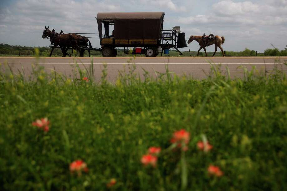 A wagon passes along U.S. 183 between Cuero and Hochheim  during the New Braunfels Trail Ride on Tuesday.  The trail ride, which happens every five years, moves along the path of the original German settlers who came from the coast in 1845. Photo: Carolyn Van Houten, Staff / 2015 San Antonio Express-News