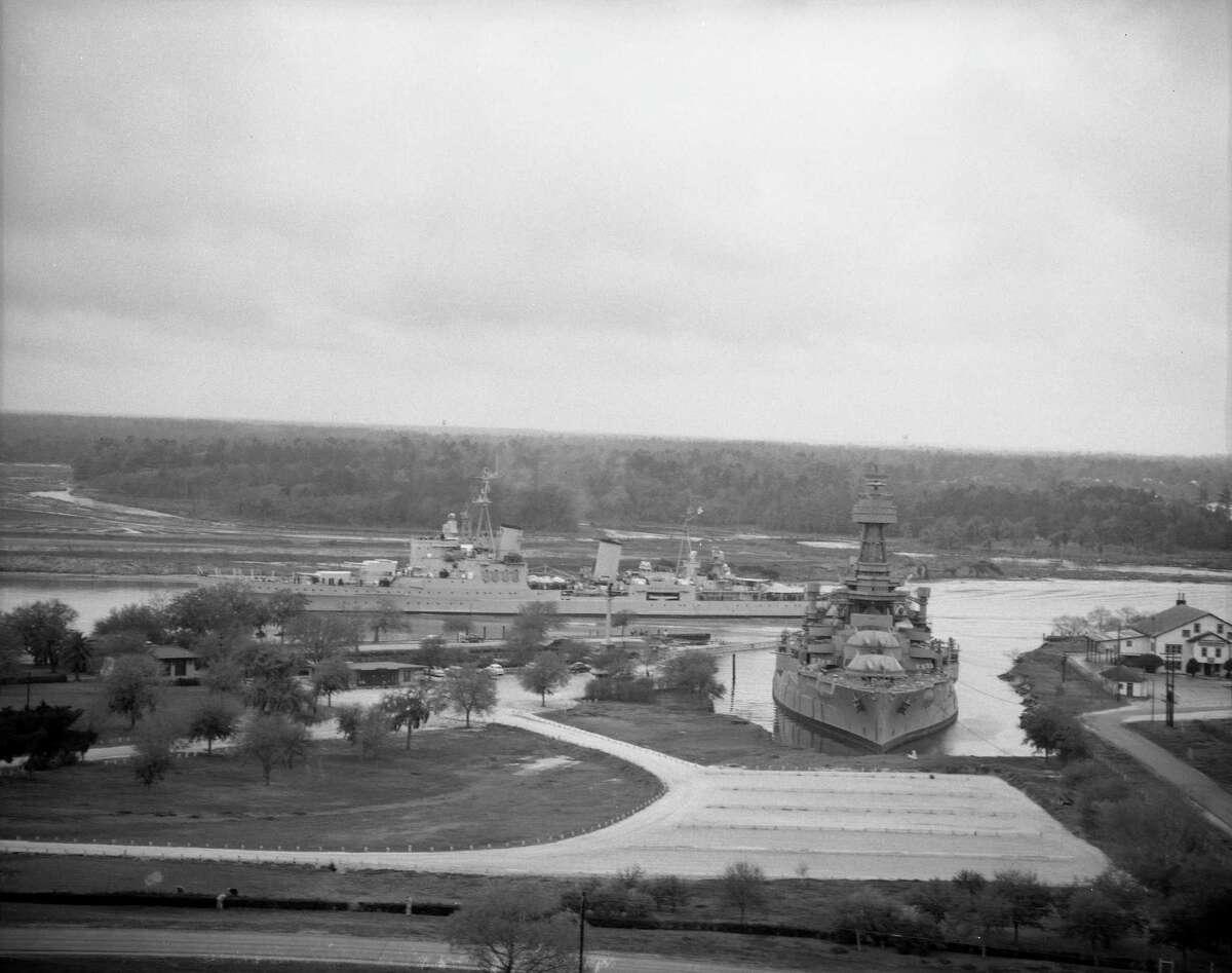 USS Texas, foreground, and HMS Sheffield at San Jacinto Battleground.