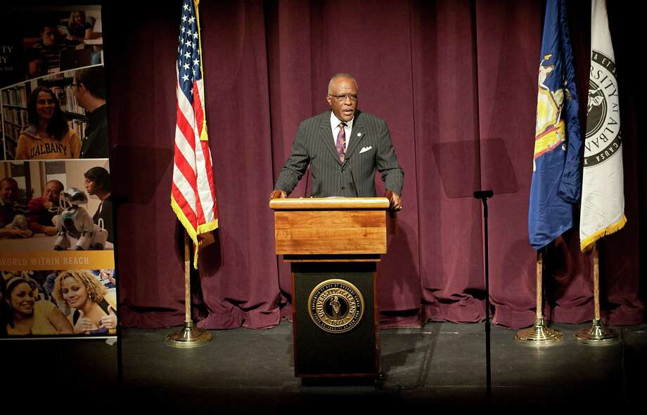 "University at Albany President Robert Jones gives his spring address on the ""State of the University"" at the University at Albany on Wednesday, April 1, 2015 in Albany, N.Y.  (Lori Van Buren / Times Union) Photo: Lori Van Buren / 10031276A"