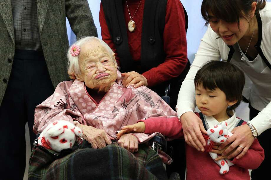 Misao Okawa of Japan, who became the world's oldest person when she turned 117 almost a month ago, died Wednesday of heart failure.  Only five documented people have ever reached 117, researchers said. Gertrude Weaver of Arkansas - who turns 117 on July Fourth - is now the world's oldest person. Photo: Buddhika Weerasinghe, Stringer / 2015 Getty Images
