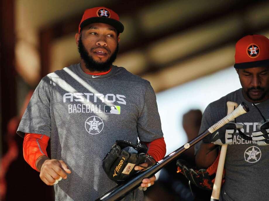 Jon Singleton is being sent to Class AAA Fresno to work on his hitting. Photo: Karen Warren, Staff / © 2015 Houston Chronicle