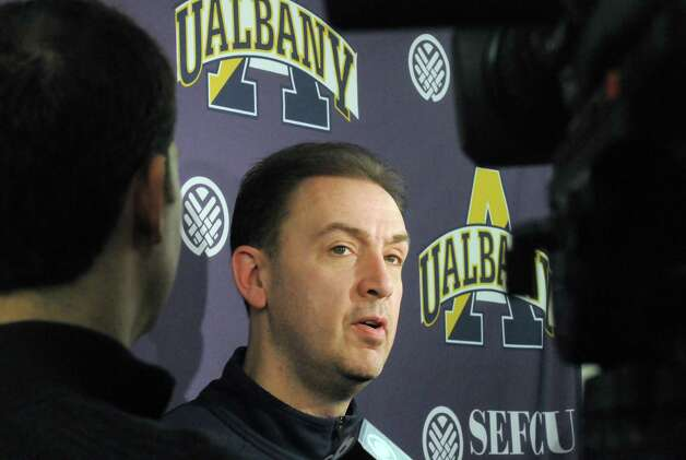 UAlbany head coach Will Brown talks with the media prior to basketball practice at the SEFCU Arena on Tuesday March 17, 2015 in Albany, N.Y.  (Michael P. Farrell/Times Union) Photo: Michael P. Farrell / 00031069A