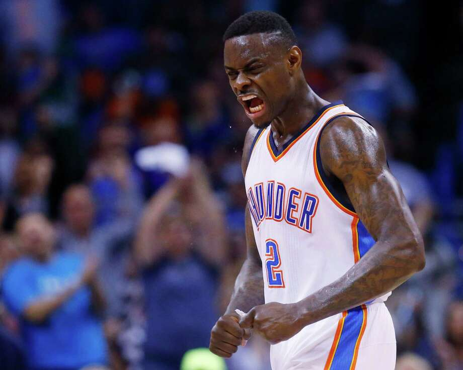 Oklahoma City Thunder guard Anthony Morrow (2) reacts after hitting a basket to end the second quarter of an NBA basketball game against the Dallas Mavericks in Oklahoma City, Wednesday, April 1, 2015. (AP Photo/Sue Ogrocki) Photo: Sue Ogrocki, STF / AP