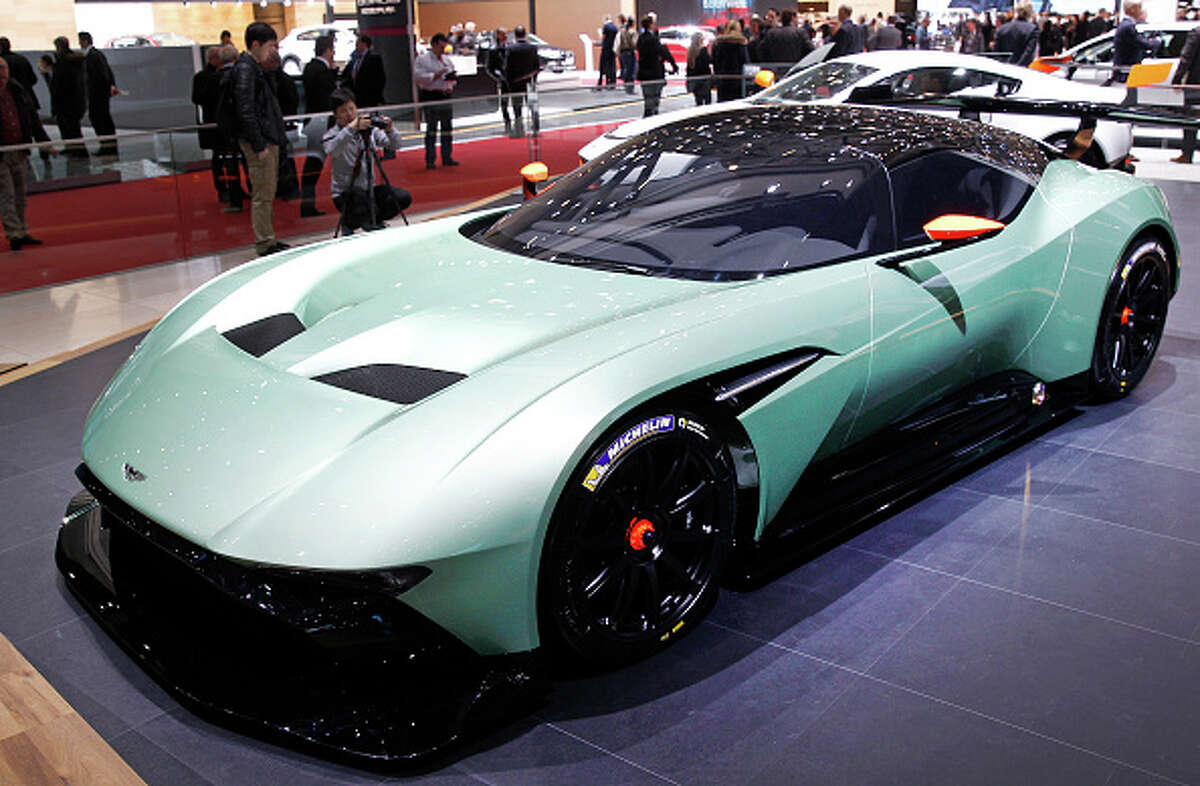 An Aston Martin Vulcan made its world debut at the Geneva International Motor Show on March 3. The track-only vehicle boasts 800-plus brake horsepower and a carbon-fiber body.