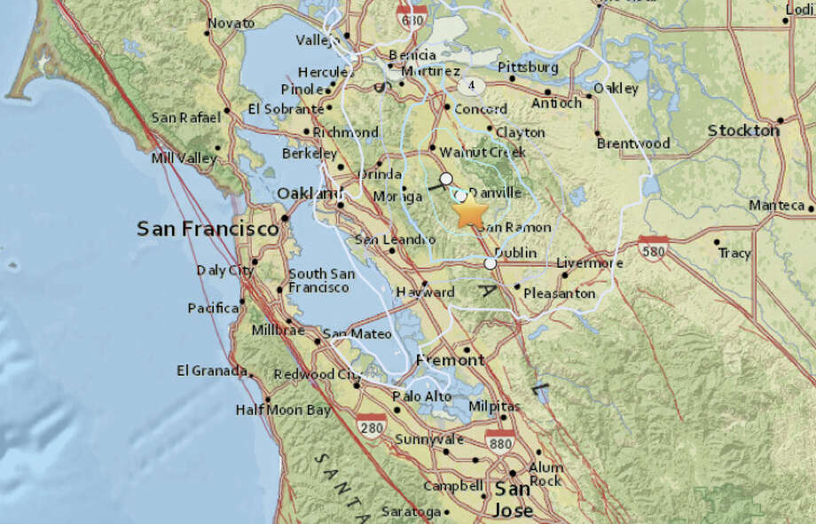 A magnitute 3.5 quake struck San Ramon just after midnight. Photo: USGS