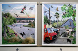 """""""Our Nature,"""" Susan Felter, photomural of Oakland's natural settings."""