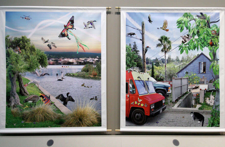 """Our Nature,"" Susan Felter, photomural of Oakland's natural settings. Photo: Santiago Mejia / The Chronicle / ONLINE_YES"