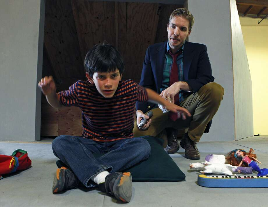 "Jonah Broscow (left), who will play Max, a seven-year-old boy with autism in ""Max Understood,"" a new musical, and Teddy Spencer, who plays Max's father, rehearse at the Paul Dresher Studio, Wednesday, April 1, 2015, in Oakland, Calif. Photo: Santiago Mejia, The Chronicle"