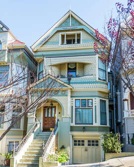 The grand Victorian at 114 Lyon St. in Haight Ashbury is mere steps from Buena Vista Park.