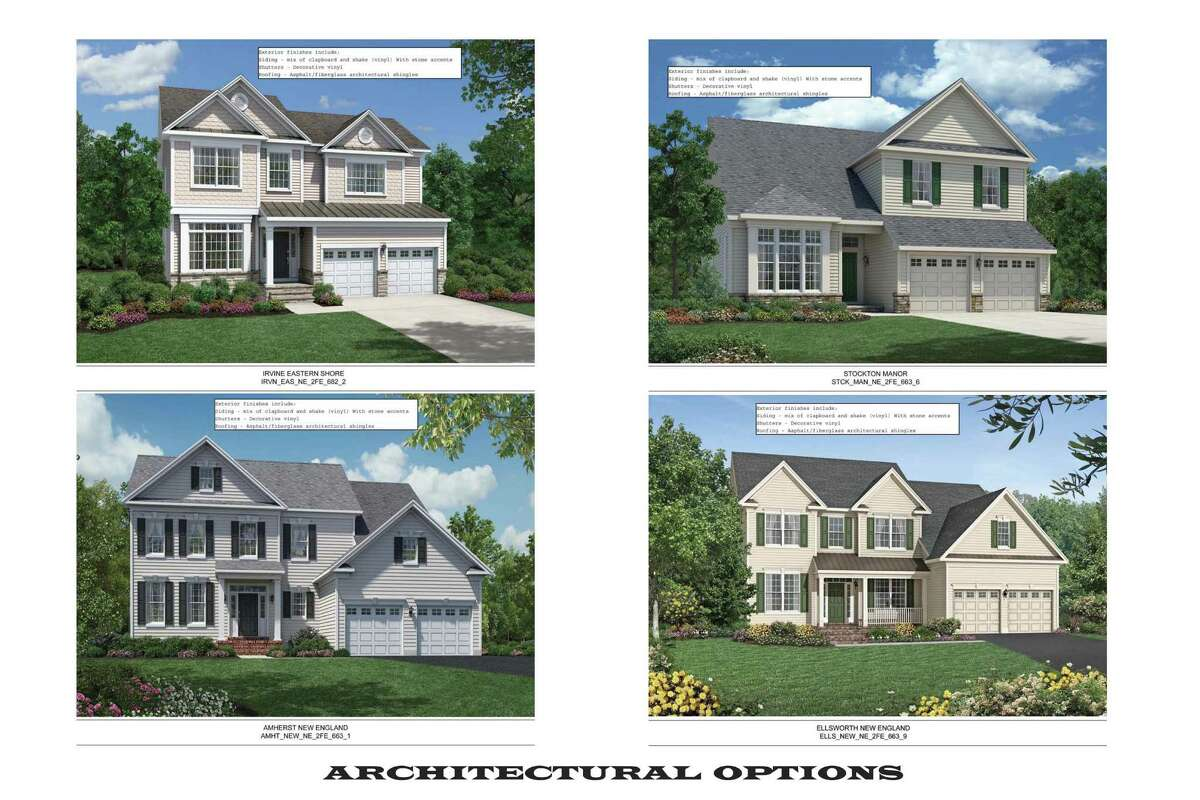 Possible house styles that will be available in a new housing development proposed for Maple Avenue in Bethel, Conn.