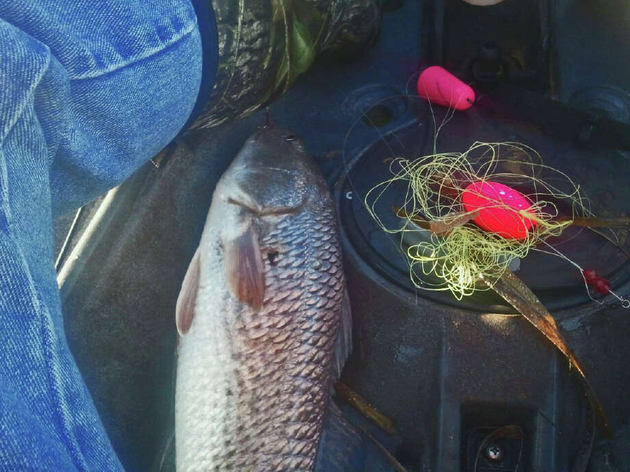 After landing the hungry redfish in his kayak, Bill Doench snapped this cell-phone photo of a rat's nest of line, leaders and popping corks next to the red that Mike and/or Michelle Peterson hooked and lost three times. Photo: Courtesy Photo / Bill Doench