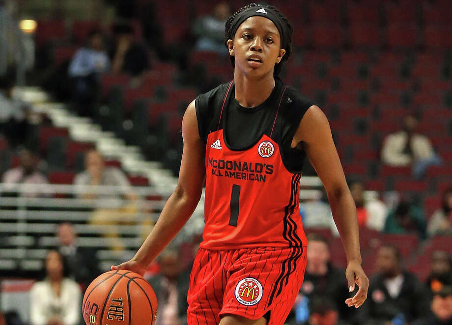 Kyra Lambert of the West team brings the ball up the court during the 2015 McDonalds's All-American Game at the United Center on April 1, 2015 in Chicago. Photo: Jonathan Daniel /Getty Images / 2015 Getty Images