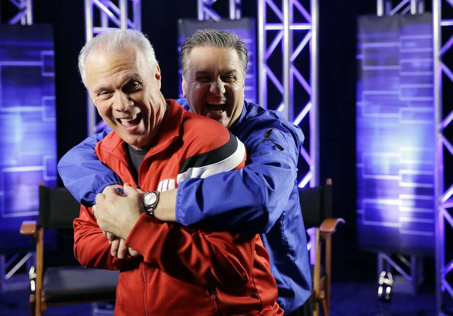 Wisconsin head coach Bo Ryan and Kentucky head coach John Calipari have some fun after a CBS Sports interview for their NCAA Final Four tournament college basketball semifinal game Thursday, April 2, 2015, in Indianapolis. (AP Photo/David J. Phillip) Photo: David J. Phillip, Associated Press