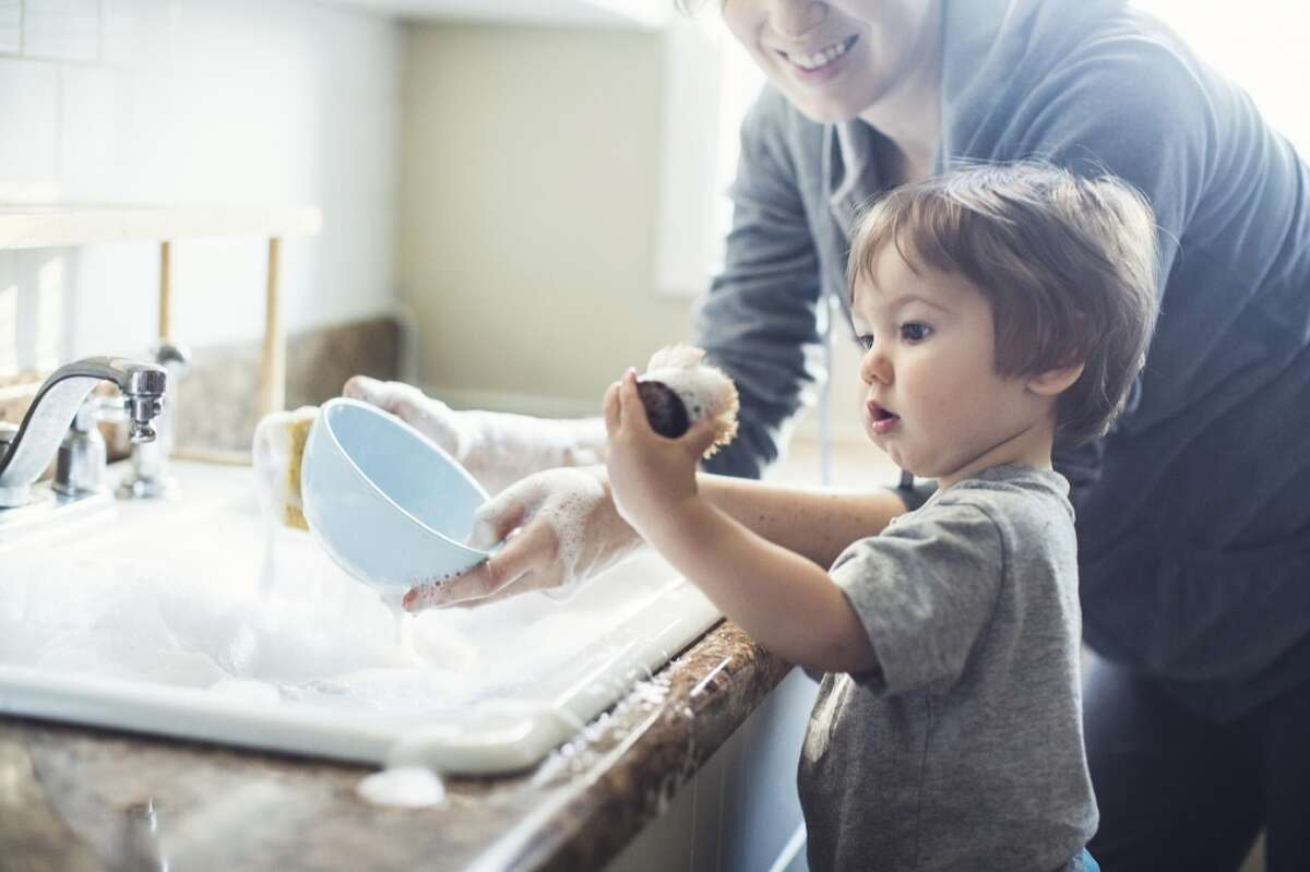 When washing dishes by hand, don't let the water run. Fill one basin with wash water and the other with rinse water.