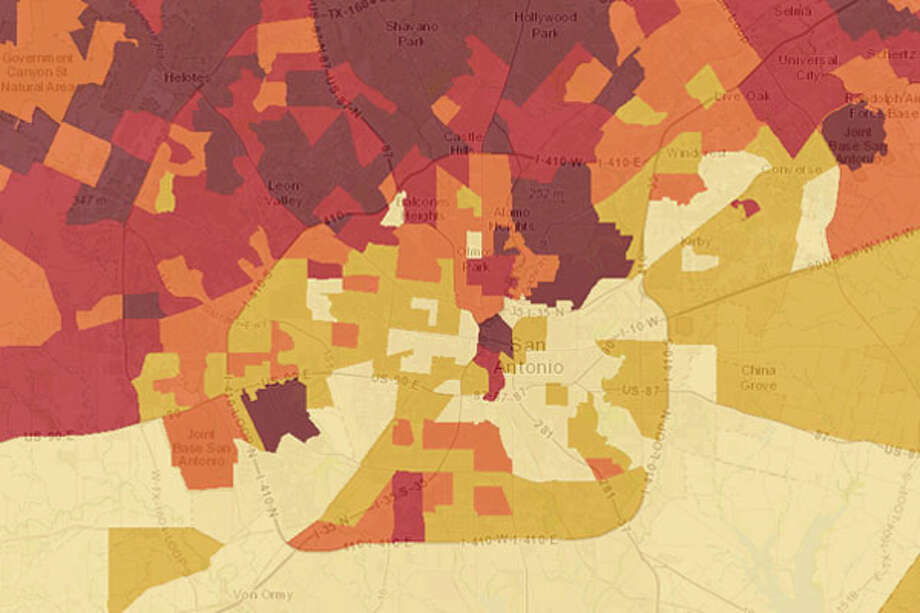 "This is what San Antonio looks like in the Child Opportunity Index. The neighborhoods with ""very low"" opportunities for kids are the light cream color on the map.Click through to see a closer categorical look at some of the unhealthiest neighborhoods for kids in San Antonio. Photo: Esri/Google Earth"