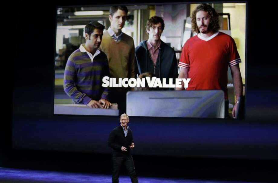 """Apple CEO Tim Cook talks about HBO programs, including """"Silicon Valley,"""" during an Apple event on Monday, March 9, 2015, in San Francisco. (AP Photo/Eric Risberg) Photo: Eric Risberg / Associated Press / AP"""