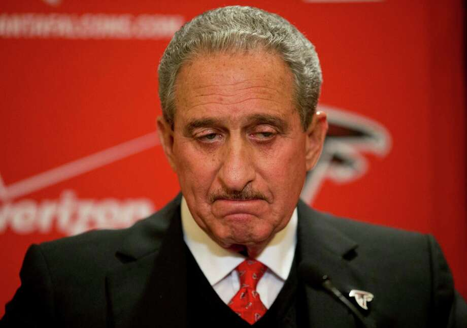 Atlanta Falcons owner Arthur Blank speaks at a 2014 news conference in after the NFL fined the team over noise at home games. Photo: David Goldman / Associated Press / AP