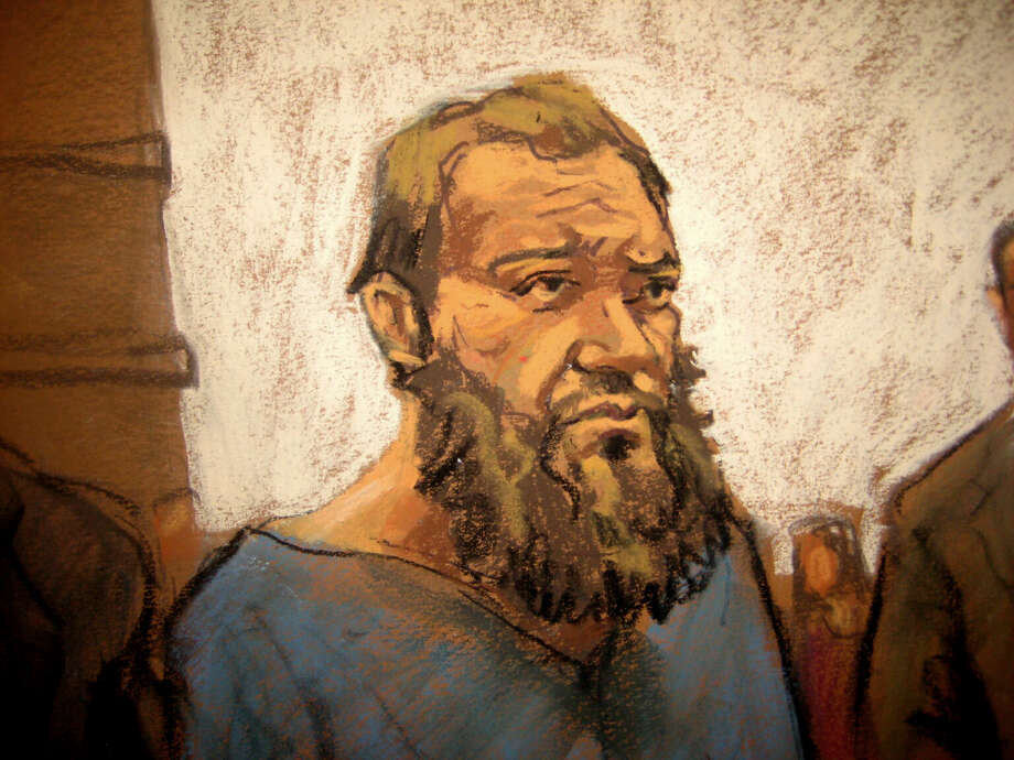 In this courtroom sketch, Muhanad Mahmoud Al Farekh makes a brief appearance at federal court in New York, Thursday, April 2, 2015. Authorities say that the U.S. citizen traveled from Canada to Pakistan to train with al-Qaida in order to carry out jihad and conspired to kill American soldiers. (AP Photo/Jane Rosenberg) Photo: Jane Rosenberg, STR / AP
