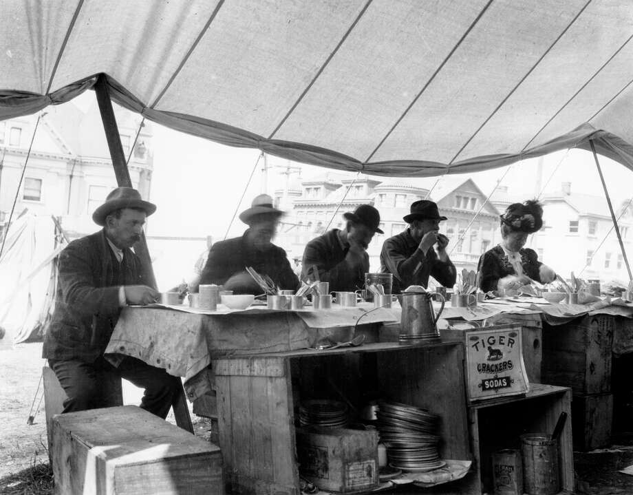 Refugee Camp Restaurant, 1906, San Francisco.  Photo: Courtesy S.F. History Center,  S.F. Public Library / ONLINE_YES