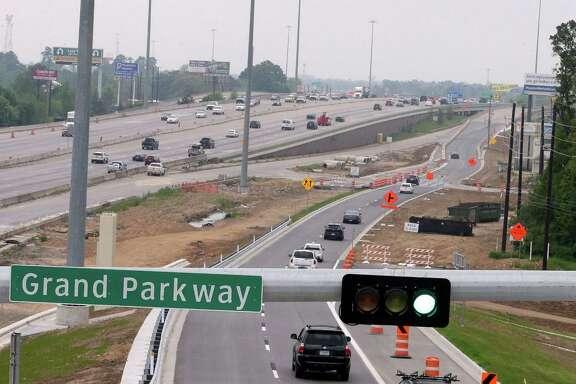 Crews began opening frontage roads along the Interstate 45-Grand Parkway interchange last weekend.