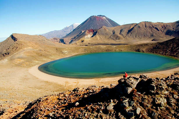 Blue Lake is one of the notable sights along the Tongariro Crossing through New Zealand's Tongariro National Park.