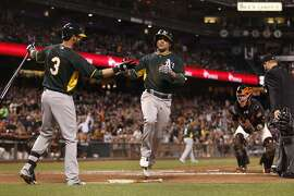 Oakland Athletics batter Billy Burns scores an inside the park homerun during the second inning of the baseball game against the San Francisco Giants on Thursday, April 2, 2015 in San Francisco, Calif.