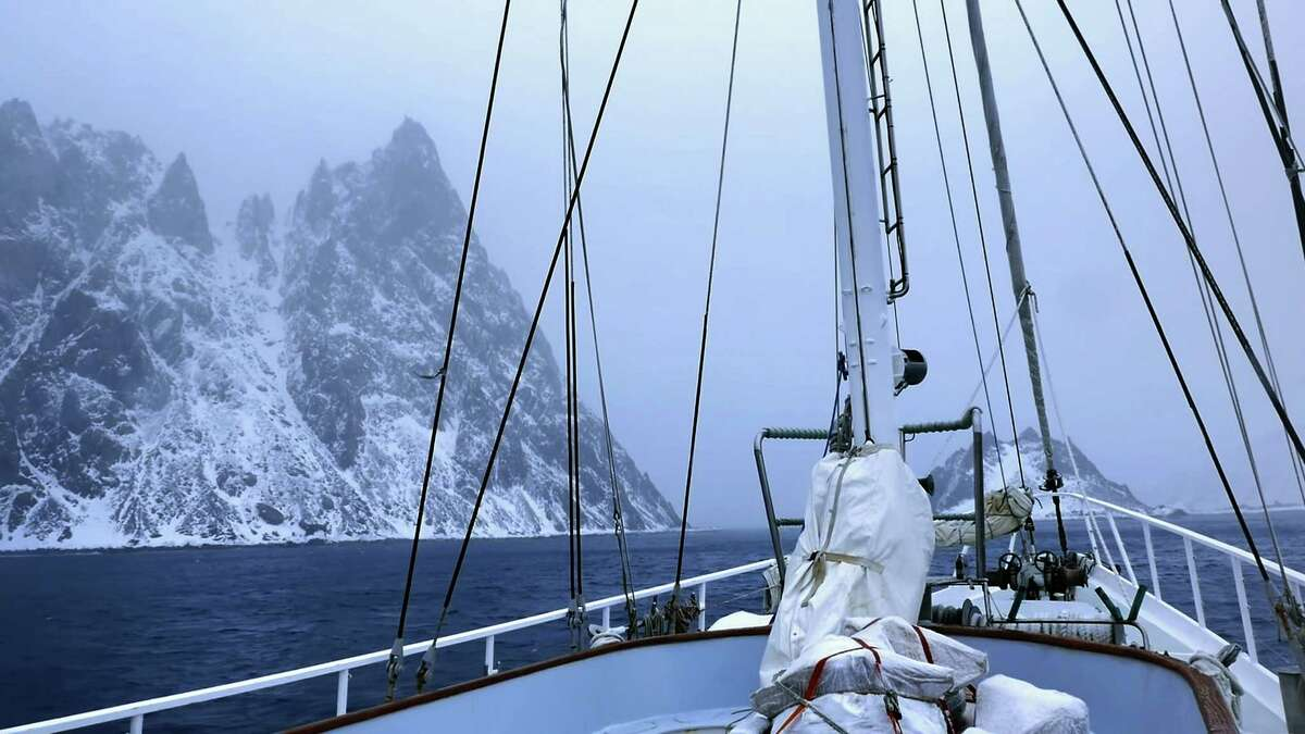 Luc Hardyís film ìThe Pursuit of Endurance ñ On the Shoulders of Shackleton,î documents the Cos Cob adventurer's 3,000 mile voyage on board the ìAustralis,î tracing the legendary path of Ernest Shackleton. Here, Hardy's ship approaches the formidable Elephant Island, a mountain of rock, snow and ice where Shackletonís 27-member crew survived for five months eating penguins and seals waiting for rescue.