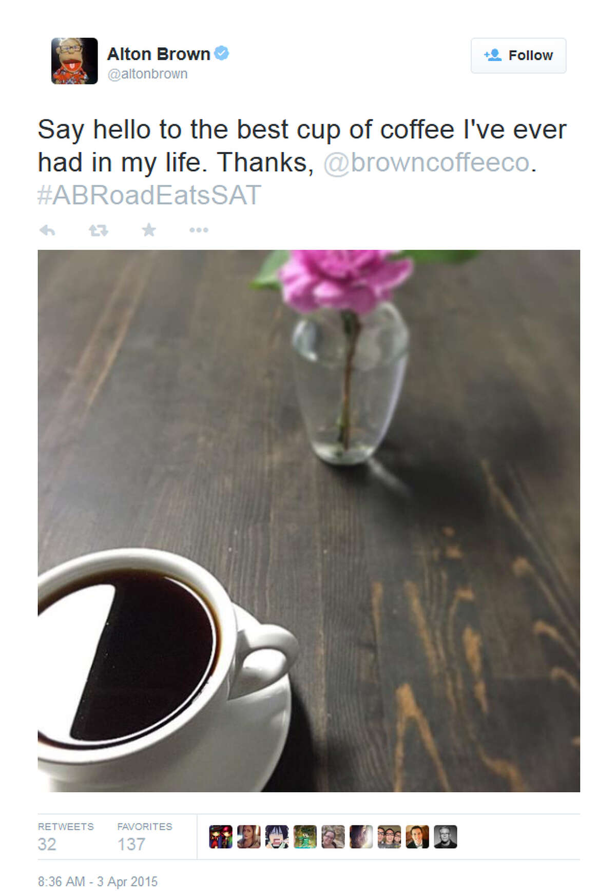 """Alton Brown (@altonbrown) tweeted this photo from San Antonio's Brown Coffee Co. Friday morning, April 3, 2015, saying it was """"the best cup of coffee I've ever had in my life."""""""