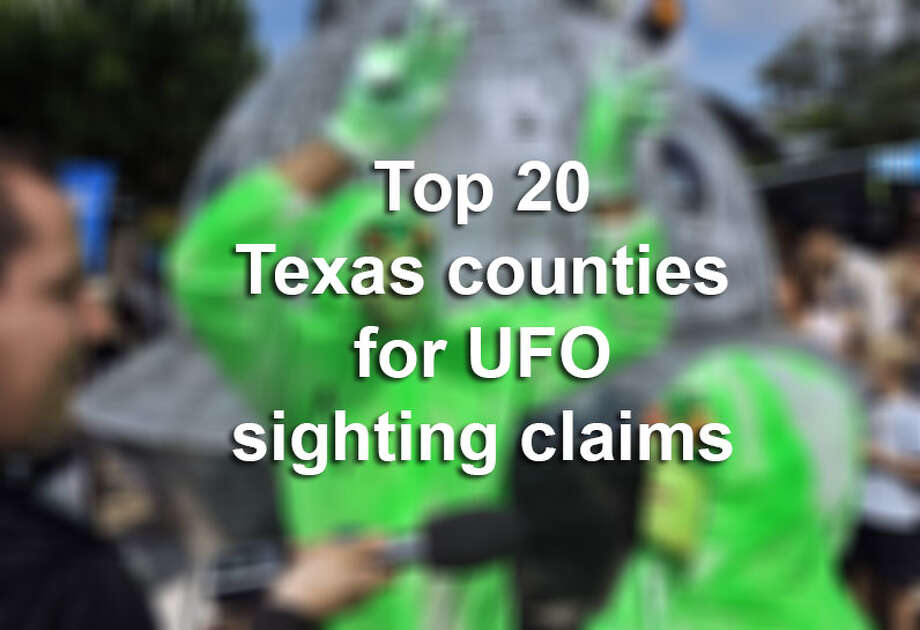 Claims for UFO sightings in Texas counties have been compiled by FindTheBest.com. Here are the  Top 20 counties in the Lone Star State. Be sure to click through to see which county has the most claims. Photo: PIERRE ANDRIEU, Photo By Tyler White/SAEN / 2010 AFP
