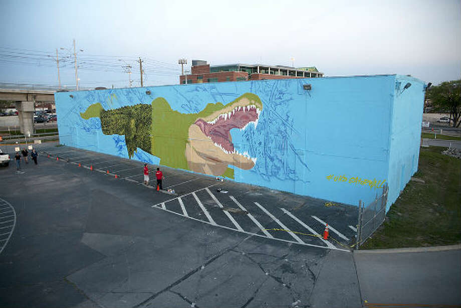 "Houston-based French street artist Sebastien ""Mr. D"" Boileau is currently painting a large, intricate mural on the University of Houston-Downtown campus of the school's mascot, Ed-U-Gator. The mural is coming to life on the north side of a storage facility, steps away from a student parking lot at Main Street and I-10. Photo: Thomas Granovsky"