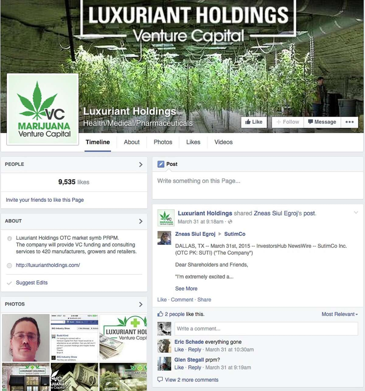 The Facebook page of Luxuriant Holdings, of which authorities say Jeffries was the CEO.