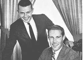 James Gabbert (left) with Gary Gielow at KPEN in 1967.