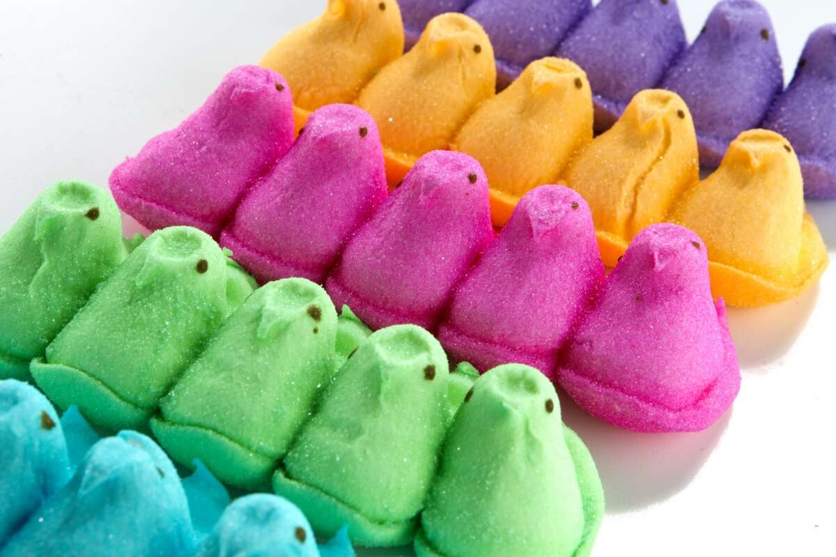 A Peep rainbow Yellow and white Peeps were the first, then came pink, lavender, blue, green and orange.
