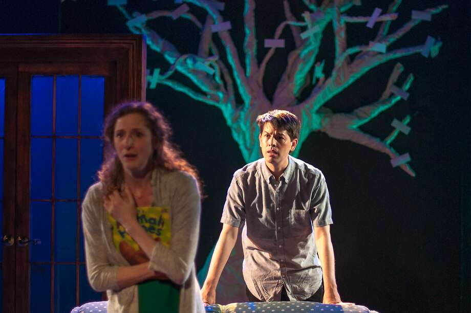 """Fiona (Jessica Bates) relives a chance meeting with a stranger (Greg Ayers) in Lauren Yee's """"In a Word"""" at San Francisco Playhouse. Photo: Fei Cai"""