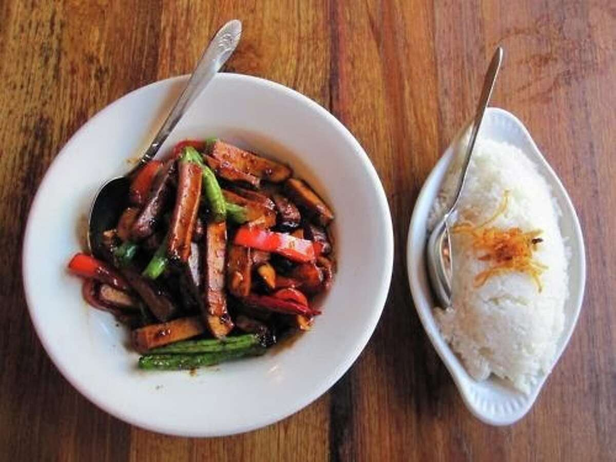 15) Burma Love The Mission spinoff of Burma Superstar has a slightly different menu from its predecessors, but don't worry - the tea leaf salad is still there. It comes with dried shrimp, but you can order vegetarian. This restaurant isn't purely vegetarian, but the menu features an entire vegetables and tofu section. 211 Valencia St., (415) 861-2100, Yelp reviews