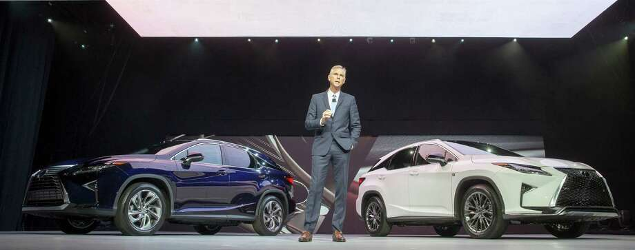 Jeff Bracken, Group Vice President and General Manager Lexus Division unveils the all new Lexus RX at the 2015  New York Auto Show, Wednesday, April 1, 2015. The RX's the best selling model in the brand's 26 year history. The RX Hybrid is left and Sport model is (R). 