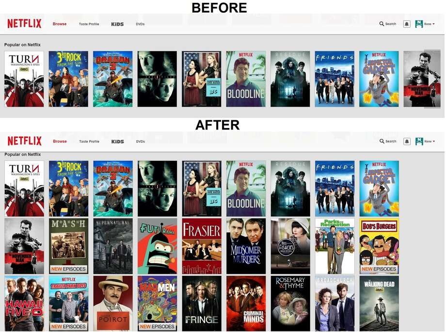 "Before and after screenshots of Netflix using the free ""God Mode"" bookmarklet to display titles in a Web browser. Photo: Screenshot"