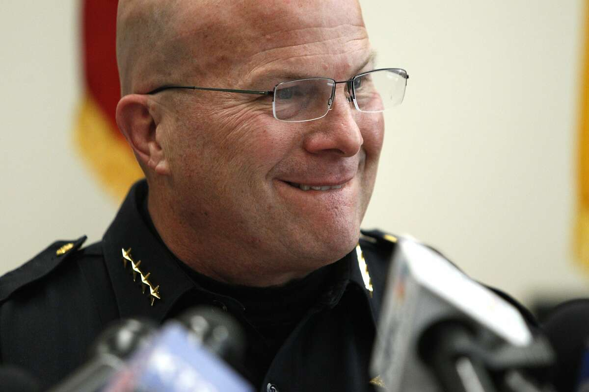 S.F. Police Chief Greg Suhr during a news conference speaks about an audit of the crime lab's DNA unit, which has come under fire for faking results, as well as other police misconduct, at the Hall of Justice, Friday, April 3, 2015, in San Francisco, Calif.